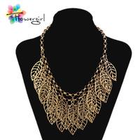 2014 Designer Link Chain Antique Gold Hollow Out Leaf Pendant Chokers Necklace [N-145J]