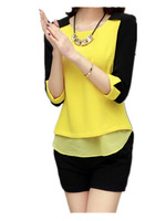 Free Shipping Women 2014 Summer plus size loose half sleeve chiffon tops,Black yellow chiffon Blouses XL Xxl XXL XXXXL