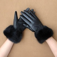New hot Ms sheepskin gloves ms Korea female winter warm and lovely lady's rabbit hair sheep leather gloves leather free shipping