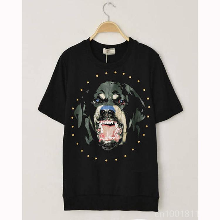 Hot Sale Trendy Crew Neck Diamond Rhinestone Rivet Vicious Dog Beagle Dog'S Head Pattern T-Shirt WF-491801(China (Mainland))