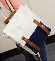 Double-shoulder back bag backpack vintage color block decoration backpack