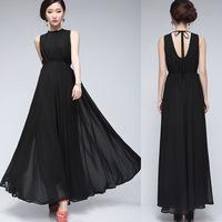 spring 2014 summer Fashion one-piece dress black racerback full dress chiffon female