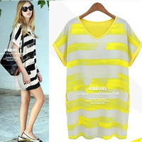 2014 spring women's fashion elegant casual plus size patchwork stripe chiffon one-piece dress basic skirt