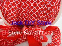 Red White Quatrefoil FOE Fold Over Elastic 50 Yards 1.5cm Foldover elastic for headband Hair Accessories Free Shipping