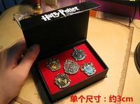 1 set =5 pcs in 1 box Harry Potter Hogwarts House Metal Pin Gryffindor Slytherin Ravenclaw Hufflepuff Badge 2set=10pcs
