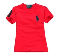 New 2014 Boy's fashion summer short sleeve A variety of colors turn-down collar buckle splice cotton leisure t-shirt