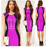 2014 New arriving Free Shipping European And American Mix And Match The Elegant Flow Linear Colorful Thin Waist Dress