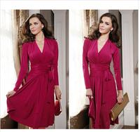 cheap women dresses new fashion 2014 full long sleeve v-neck pleats lacing Knee-length skater dress S-XL 3693