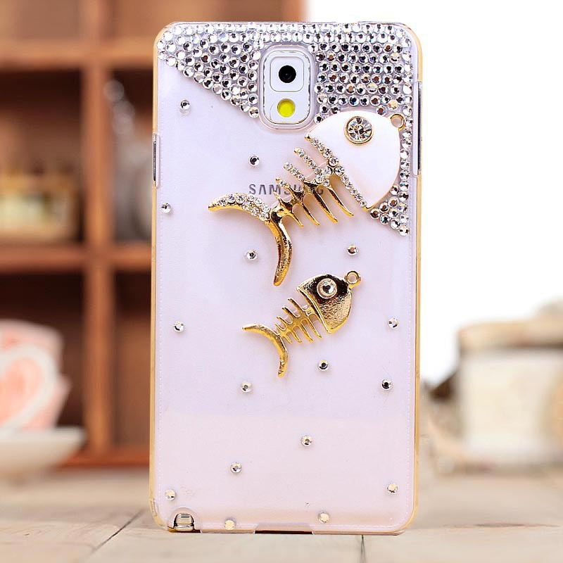 Note3 rhinestone crystal fish Case cover for Samsung Galaxy Note 3 III N9000 Luxury Mobile Phone Cover Free Screen(China (Mainland))