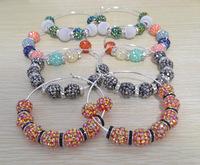 [Clear inventory] Cheap Price Fashion Jewelry Women's Shamballa Hoops Earrings Crystal Disco Ball Beads Loop Earrings