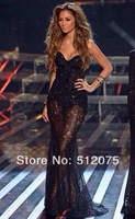 Sexy Celebrity Dresses 2014 New Arrives Red Carpet Wholesale Mermaid See Through Lace Long Celebrity Dress