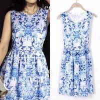 New Arrival Women Super Hot Basic Tunic Dress Blue and White Porcelain Sleeveless Pleated Chiffon Dress 1251