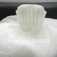 2014 Fashionable Romantic Sexy Vintage Bandage WeddingDress Real Photo Bride Pearls Tube Top Plus Size Women Princess Dress Gown