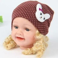 Children's hat spring summer and fall children dot the rabbit set of head cap baby hat children's products+free shipping