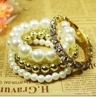 2014 New styles EurAmerican pearl & metal beads &  jewel-encrusted mixed multi-layered Bracelets & Bangles jewelry women