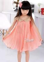 Fashion girls chiffon dress girls paillette collar casual dress kid's pleated dresses CD8
