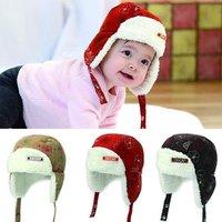 Hat wholesale Children cap Snowflakes lei feng cap The baby and velvet earmuffs cap Autumn winter warm cap+Free shipping