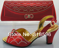 Free Shipping ,New design and hot-selling italy matching shoe and bag set with many rhinestone in red