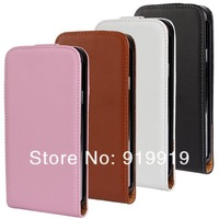 New Genuine Real Flip Leather Pouch Case For Samsung Galaxy S5 i9600 free shipping