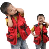 Children's Photography Vest  Reporter Vest Students Multi-Pocket Vest Outdoor Fishing Vest For Boys Waistcoats VT-087