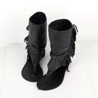 2014 summer new European and American high-top goatskin fringed sandals women flip shipping