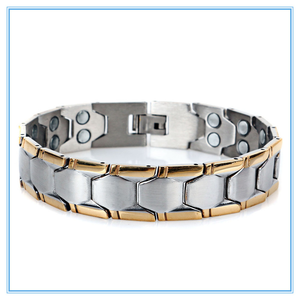 Mens Magnet Stainless Steel Bracelets Bangles 2014 New Healthy Power Magnetic Energy Balance Box Chain Bracelet Jewellry(China (Mainland))