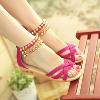 2014 Korean version of the new School of wind open-toed sandals with flat metal tassels female shipping