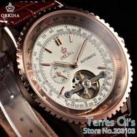 ORKINA Tourbillion Automatic Mechanical Steampunk Rose Gold Mens Wrist Watch Genuine Leather+Gift Box Free Ship