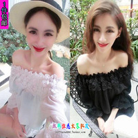 Sexy slit neckline strapless sexy lace shirt ruffle elegant fashion basic shirt top female