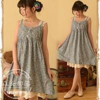 2014 women's little fresh floral print spaghetti strap basic dress one-piece dress  mori forest style