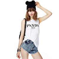 Panda letter print sleeveless o-neck white t shirt slim t-shirt women vest top new 2014 women's clothing tops