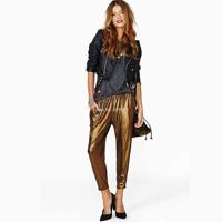 Bling gold elastic waist slim harem pants ankle length trousers for women capris clothing pants new 2014