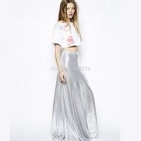 Gorgeous silver paillette skirt long women's clothing new 2014 designer elegant skirts