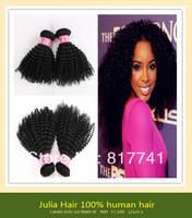Free shipping 100% human hair Kinky Curl 5A Unprocessed Julia queen hair 3pcs Lot Brazilian Virgin Hair Extensions Natural Color