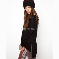 Low-high black o-neck long-sleeve t-shirt female autumn and winter basic shirts new 2014 women clothing T-shirts tops