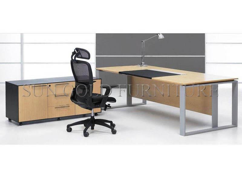 Modern melamine office desk with steel foot (SZ-OD017)(China (Mainland))