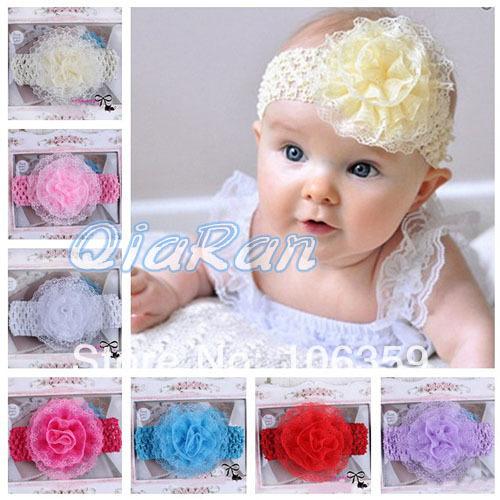 Baby Headband Lace Flower Headband Toddler Girl Vintage Fabric Hairband Wide Crochet Elastic Band 10pcs HYS35(China (Mainland))