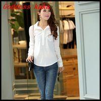 Spring New Fashion 2014 Shirt Women Pockets Decoration Long Sleeve White Cotton Blouses Free Shipping B006
