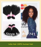 Free shipping 100% human Kinky Curl 5A Unprocessed Julia queen hair 3pcs Lot Peruvian Virgin Hair Extensions Natural Color