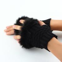 1pair Knitted Mitten Fashion Winter Arm Warmer Fingerless Gloves Fur Trim Gloves FreeShipping Brand New