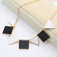 2014 New arrives jewelry Black and White  Geometric Shapes women's fashion Necklace