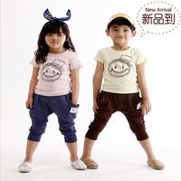 2014 child summer set male female child smiley head portrait short-sleeve pp pants
