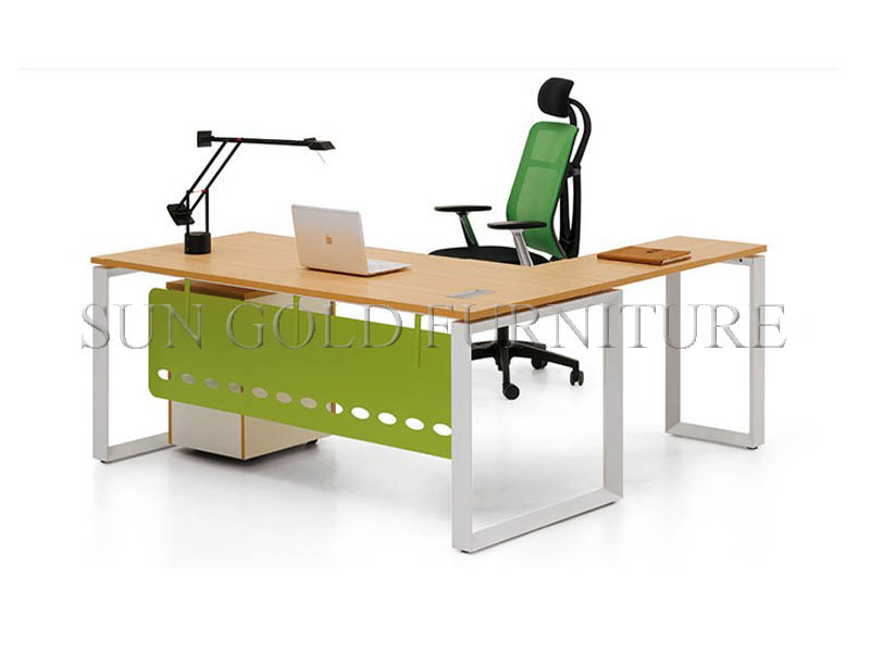 Modern melamine office desk with steel foot (SZ-OD026)(China (Mainland))