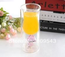 Novo Show alta Hot Quanlity criativos da novidade Fruit Juice Flores Leite & Tea Cup Double Layer Pink Heart Pattern Wine Glass Cup(China (Mainland))