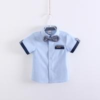 Free Shipping LAZA single boy gentleman style oxford short sleeve shirt-sleeved plaid shirt tie foreign children