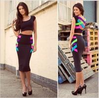 New 2014 New Sexy women dress High Street 2 pieces Shoulder Bandage Dress KF001