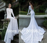 2014 New design 100% guarantee Lace wedding dress Backless Long Mermaid Bridal Gowns Scoop With train vestido de noiva WD00179