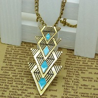 2014 New fashion jewelry Vintage Triangle drop design Necklaces & Pendants long chain for women girls