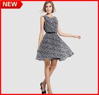 NEW ARRIVAL 2014 Spring Fashion Mushroom Sixy Women's Chiffon High Waist One-piece Dress Printing Dress Top Quality FREESHIPPING