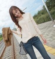 Spring 2014 Korean wild small collar pocket ladies bottoming shirt